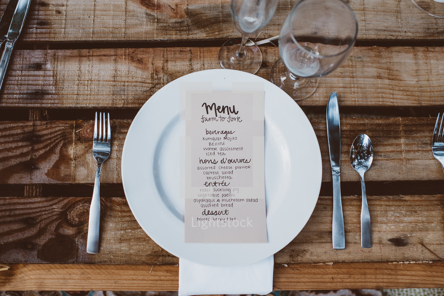 outdoors reception, place setting and menu