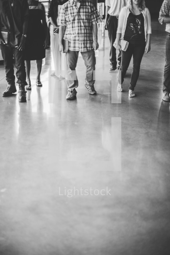 parishioners entering a church