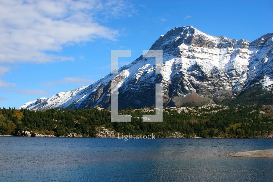 mountain peak and lake