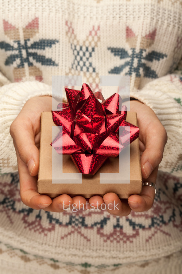 cupped hands holding a gift box