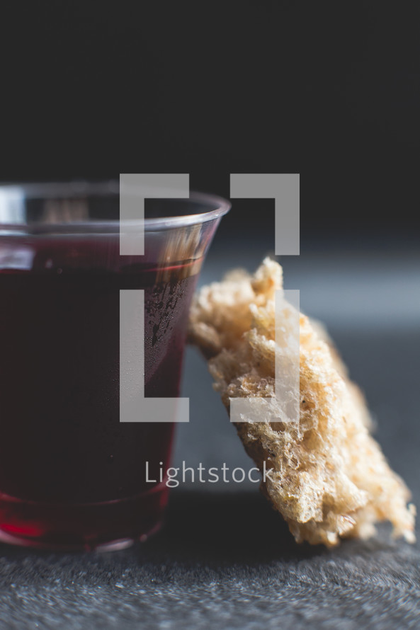 communion wine cup and bread