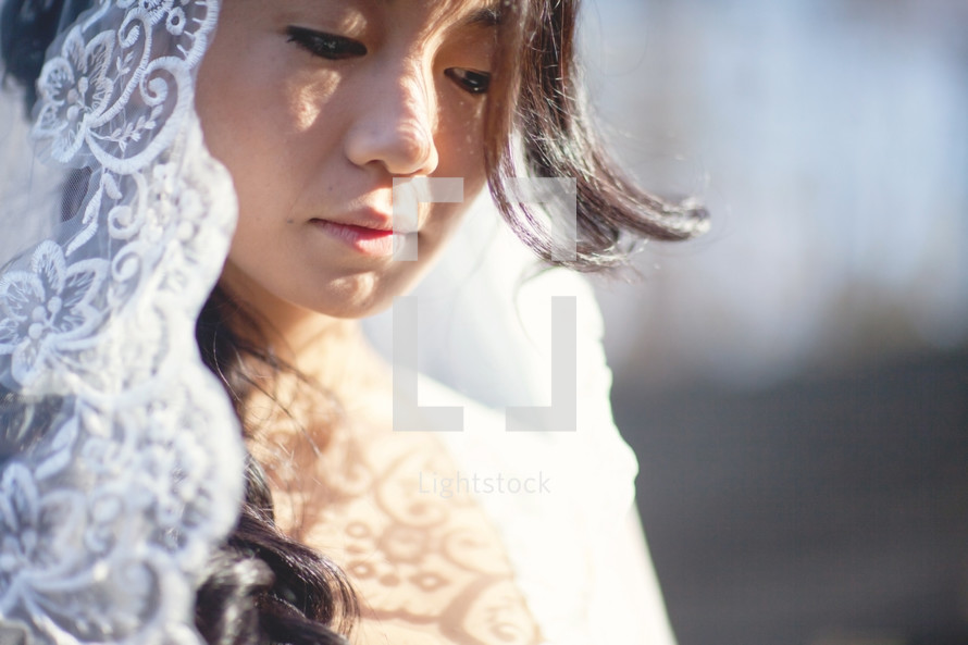 veil and face of a bride