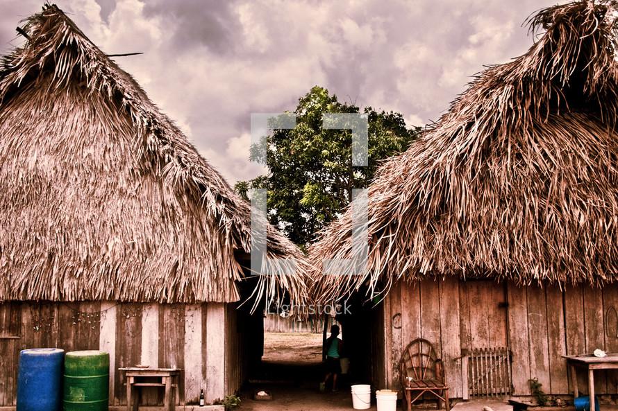 A pair of huts