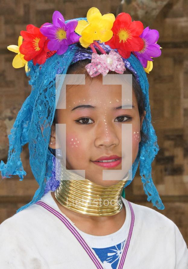 Thai mountain tribe girl in tribal wear