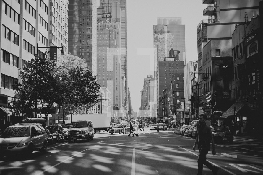 A busy street in New York City
