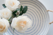 White roses on a blue and white plate.