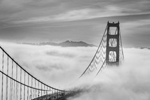 Golden Gate bridge in thick fog