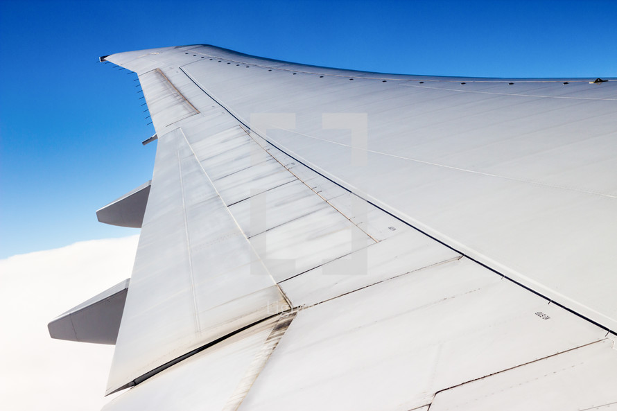 The wing of a plane.