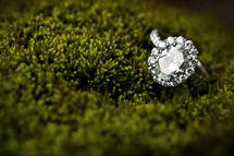 engagement ring in moss