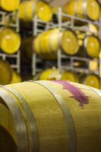 wine barrels in a winery