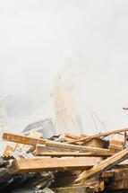 A pile of debris at a construction site.