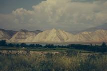 mountain peaks and lake