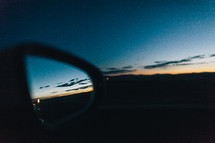 traffic in a rearview mirror