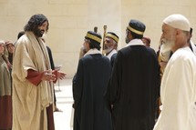 Jesus is questioned in the Temple