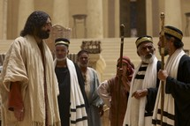 Chief priests question Jesus in the temple