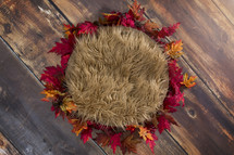 fur rug and fall leaves