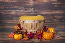 basket and pumpkins