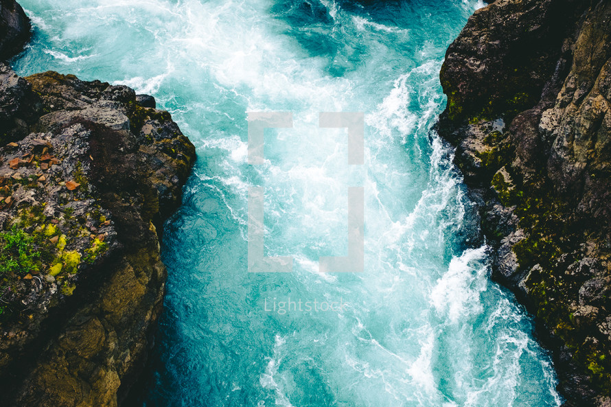 rushing water in rapids