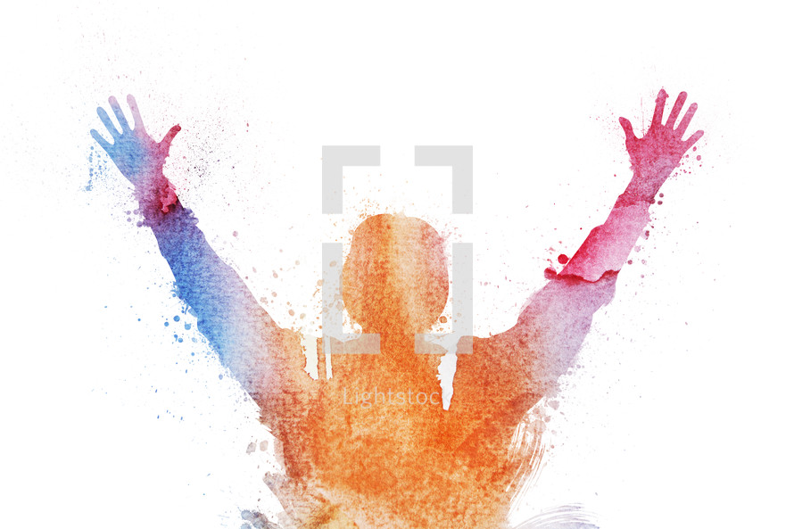 watercolor artwork of person raising their hands in worship.