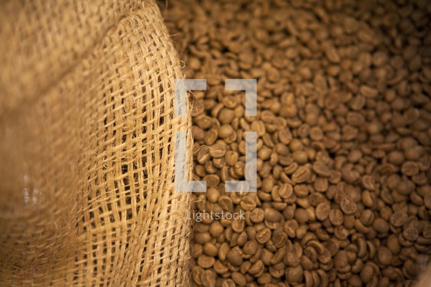 Burlap sack of coffee beans