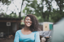 smiling african-american woman outdoors