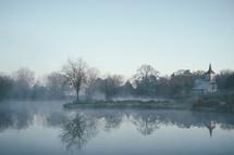morning fog around a lake