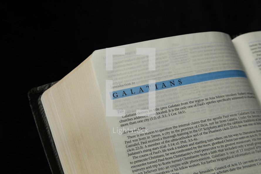 Open Bible in book of Galatians