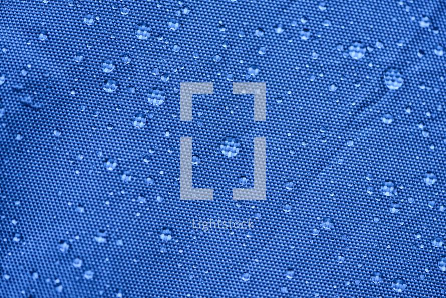 wet blue tent