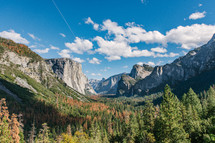 rugged mountains and forest in a valley