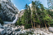 waterfall off a steep cliff