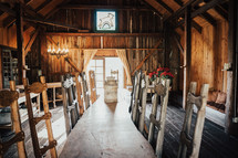long dining table in a barn