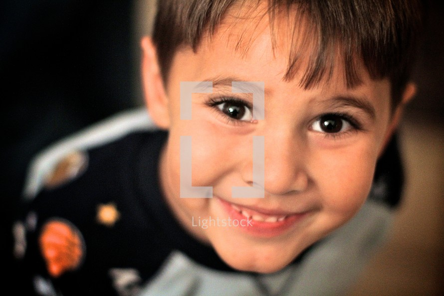 A little boy smiling