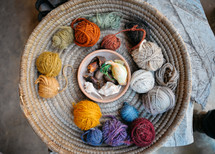 balls of yarn in a basket