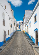 blue and white painted buildings along a cobblestone road
