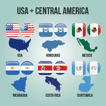 USA, Mexico, and Central American countries