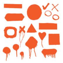 spray paint shapes red and white - square, rectangle, x, heart, circle, check mark
