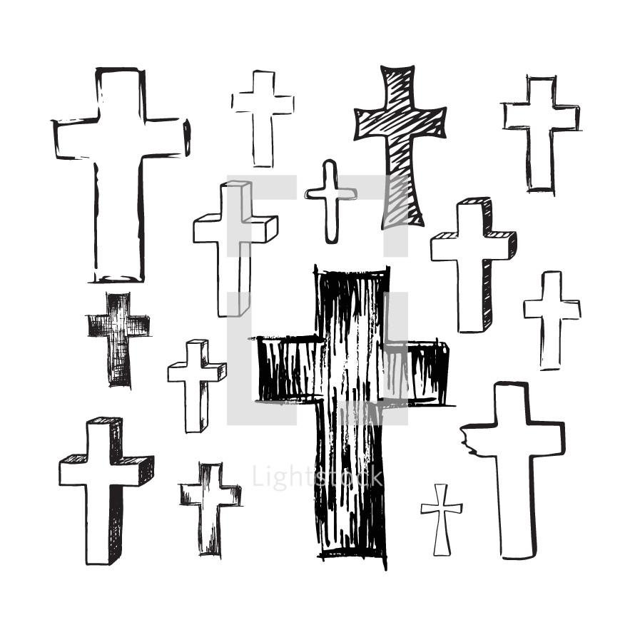 sketched crosses