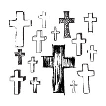 sketched crosses