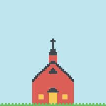 pixels illustration of church.