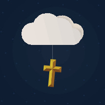 cross hanging from a cloud and stars at night