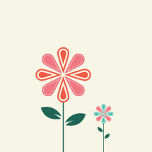 mother and daughter flower concept.