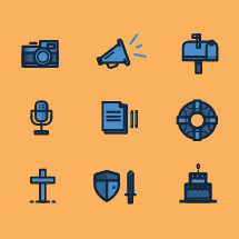 cross, sword, shield, birthday cake, cake, life raft, notebook, journal, microphone, megaphone, mailbox, camera