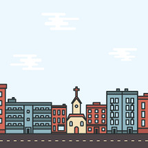 illustration of a church in a city.