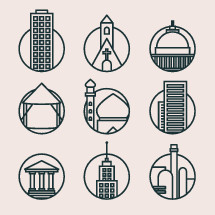 Mono weight icons of different churches and buildings.