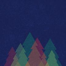 colorful Christmas trees illustration.