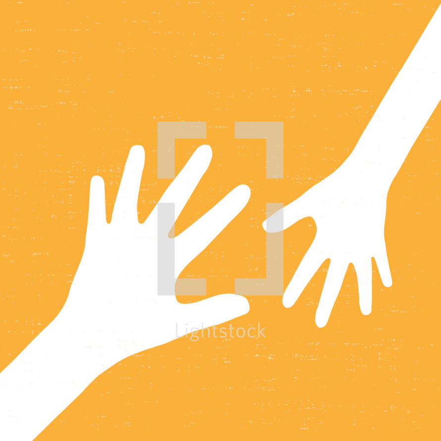 reaching hands to help each other