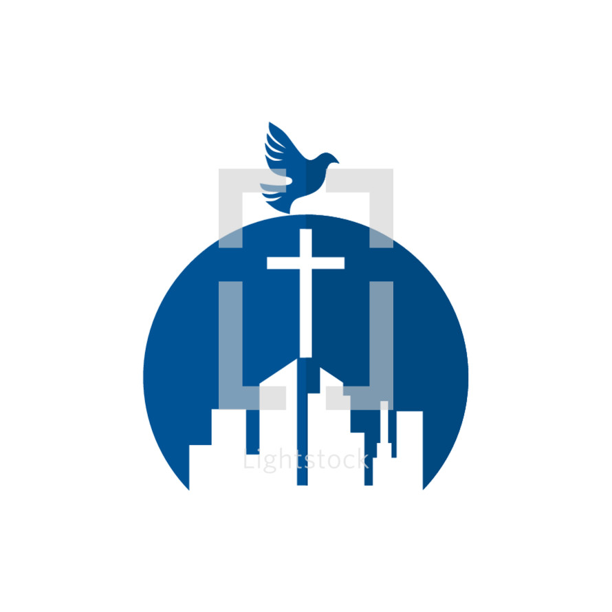 Church building logo with dove — Vector — Lightstock
