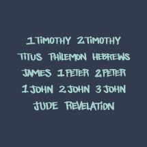New testament, 1 Timothy, Jude, Revelation, 2 John, 3 John, 1 John, 1 Peter, 2 Peter, James, 2 Timothy, Titus, Philemon, Hebrews