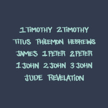 New testament, 1 Timothy, Jude, Revelation, 2 John, 3 John, 1 John, 1 Peter, 2 Peter, James, 2 Timothy, Titus, Philemon, Hebrews