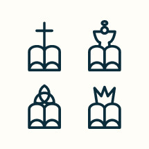 Monocon Christian icons set.
